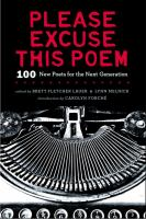 Please excuse this poem : 100 new poets for the next generation