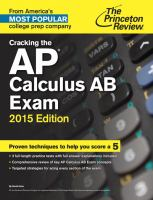 Cracking the AP Calculus AB Exam, 2015 Edition