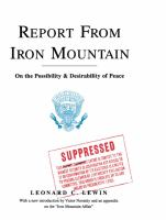 Report from Iron Mountain : On the Possibility and Desirability of Peace