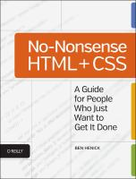 No-Nonsense Html and Css : A Guide for People Who Just Want to Get It Done