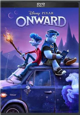 DVD cover of Disney Pixar's Onward shows two blue creatures sitting on top of a vehicle. The blue one on the left has a torch in hand, the one on the right is reading.