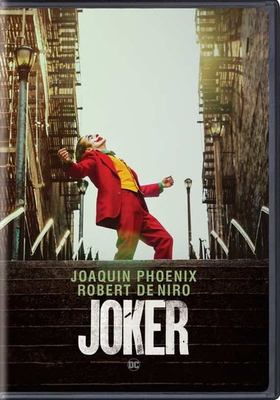The cover of the DVD for Joker shows a man in a red suit and clown makeup on a stairway in a city