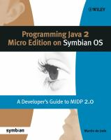 Programming Java 2 Micro Edition on Symbian OS