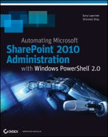 Automating Microsoft Sharepoint 2010 Administration With Windows Powershell 2.0