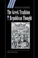 The Greek Tradition in Republican Thought