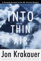 Cover of Into Thin Air: A Personal