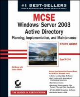 MCSE Windows Server 2003 Active Directory Planning, Implementation, and Maintenance