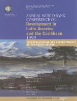 Annual World Bank Conference on Development in Latin America and the Caribbean, 1999