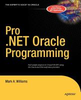 Pro .NET Oracle Programming