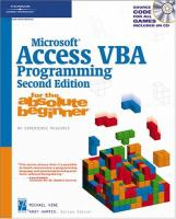 Microsoft Access VBA Programming for the Absolute Beginner, Second Edition