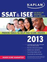 SSAT & ISEE for Private and Independent School Admissions, 2013