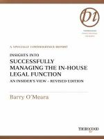 Insights Into Successfully Managing the In-house Legal Function