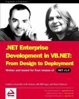 NET Enterprise Development With VB.NET