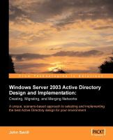 Windows Server 2003 Active Directory Design and Implementation