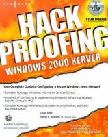 Hack Proofing Windows 2000