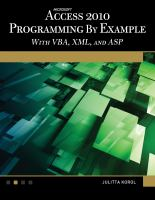 Microsoft Access 2010 Programming by Example