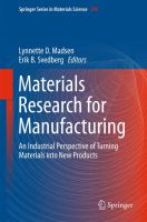 Materials research for manufacturing : an industrial perspective of turning materials into new products cover