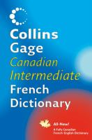 Collins Gage Canadian intermediate French dictionary