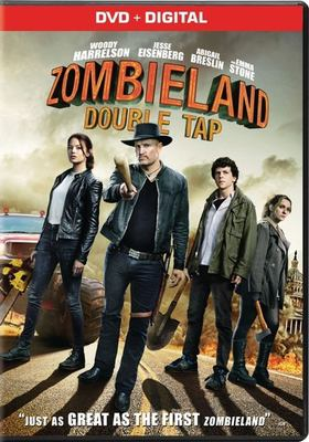DVD cover of Zombieland: Double Tap shows 2 male and 2 female characters facing the camera