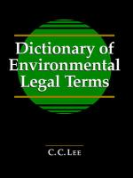 Dictionary Of Environmental Legal Terms