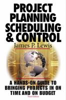 Project Planning, Scheduling, And Control