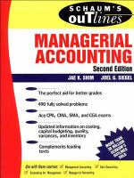 Schaum's Outline of Theory and Problems of Managerial Accounting
