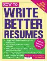 How to Write Better Resumes