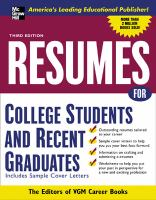 Resumes for College Students and Recent Graduates