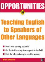 Opportunities in Teaching English to Speakers of Other Languages