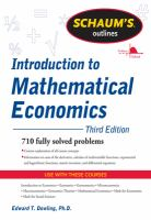 Schaum's Outline of Theory and Problems of Introduction to Mathematical Economics