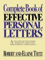 Complete Book of Effective Personal Letters