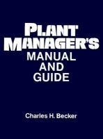 Plant Manager's Manual and Guide