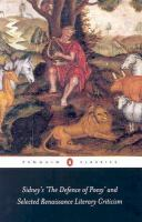 Sidney's 'The Defence of Poesy' and Selected Renaissance Literary Criticism