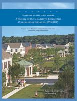 A History of the U.S. Army's Residential Communities Initiative, 1995-2010