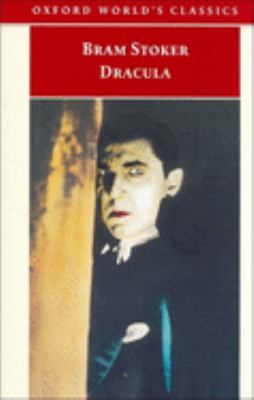 Book cover for Dracula by Bram Stoker shows a pale-skinned male staring at the camera
