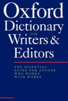 The Oxford Dictionary for Writers and Editors