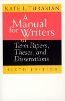 A Manual for Writers of Term Papers, Theses, and Dissertations