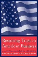 Restoring Trust in American Business