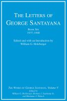 The Letters of George Santayana, 1937-1940