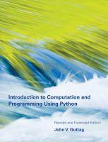 Introduction to Computation and Programming Using Python