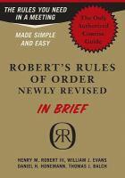 Robert's Rules of Order, in Brief