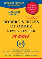 Robert's Rules of Order, Newly Revised, in Brief