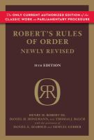 Robert's Rules of Order, Newly Revised