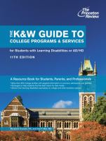 The K&W Guide to College Programs & Services for Students With Learning Disabilities or Attention Deficit Hyperactivity Disorder