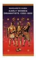 Early Women Dramatists 1550-1800