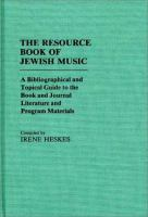 The Resource Book Of Jewish Music