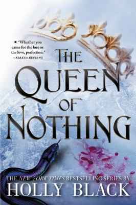 A cover for the book Queen of Nothing shows a crown in one corner and a snake in another
