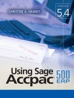 Using Sage Accpac ERP 500, Version 5.4