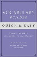 Quick & Easy Vocabulary Builder