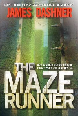 Cover of the Maze Runner features very tall green hedges alongside a building with two protruding spikes